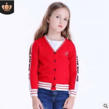 2018新款四季款小开衫中小童薄毛衣V领女童外套开衫夏天长袖外套