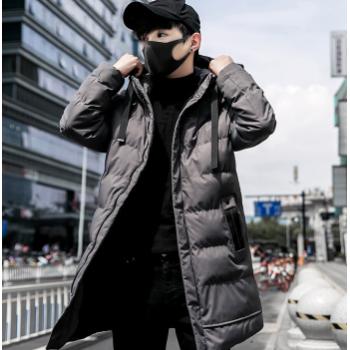 9588男式2018冬季新款长款棉衣连帽学生修身连帽长款棉衣冬季外套