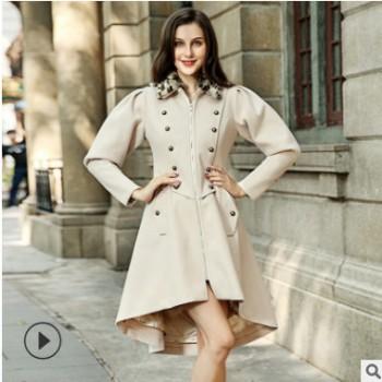 2018秋季新款风衣外套女韩版双排扣中长款时尚风衣外套