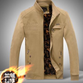 2018新款水洗夹克男式纯棉外套加绒保暖男装爸爸装石狮大装jacket