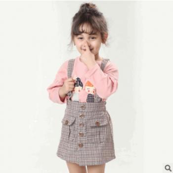 亚马逊专供外贸韩版童装2019春款复古格子女童背带裙