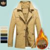 境外男装秋冬装纯棉外套中长款小西装户外男式棉衣加绒棉服5793Z