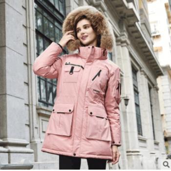户外中长款羽绒服女 冬季连帽大毛领羽绒冲锋衣加厚保暖外套团购