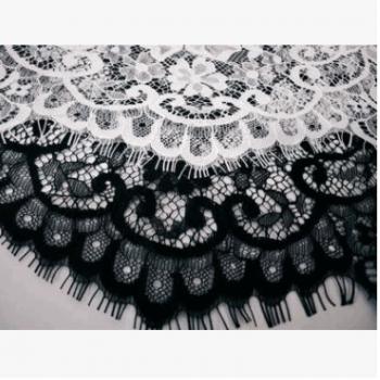 新款3码黑白睫毛蕾丝花边服装布料连衣裙上衣婚纱面料150cm宽可染