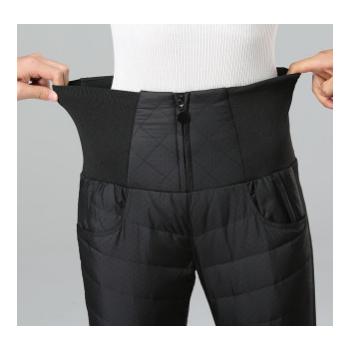 新款双面羽绒裤女外穿时尚修身显瘦小脚大码高腰弹力加厚羽绒棉裤