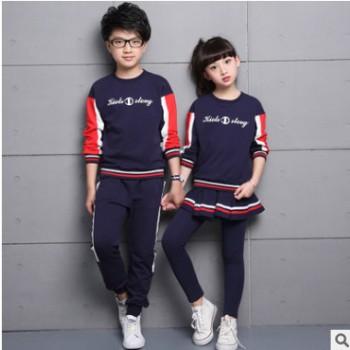 儿童校服三件套小学生班服定制春秋裙子小长裤修身团体运动服班服