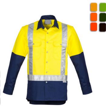 反光衬衫厂家反光安全衬衫全棉荧光防阻燃衬衣长袖反光衣来样定做