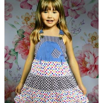 热销外贸童装全棉碎花儿童连衣裙吊带牛仔拼色女童裙子