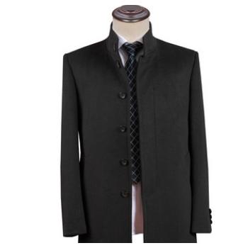 2018新款羊绒大衣定制高档商务深灰色男士风衣羊毛中长款外套
