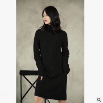 女士原创复古糯纯羊绒衫纯羊毛衫针织小款网红毛衣高领纯色黑色