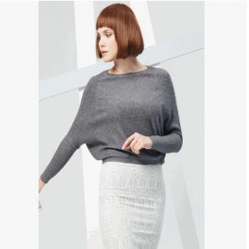 针织100%高端定制纯山羊绒女蝙蝠袖高腰短款毛衣羊绒上衣灰色宽松