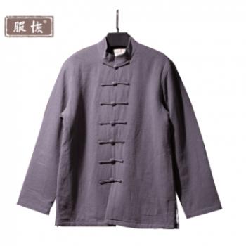 原创中国风男装唐装男长袖棉麻汉服禅修服外套中式