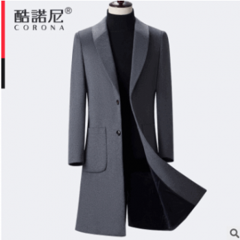 秋冬款长款过膝风衣毛呢大衣羊毛呢大衣风衣 FY-8804
