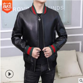 经典红绿条外套 绵羊皮男士皮衣时尚修身短款夹克真皮皮衣男