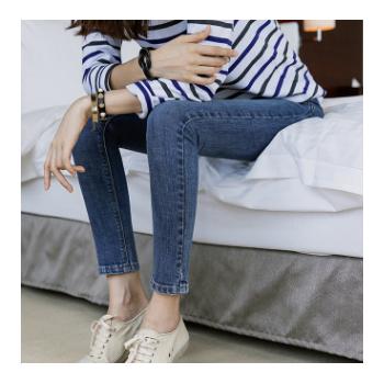 牛仔裤女装2019春夏新款韩版高腰修身显瘦小脚裤百搭长裤工厂直销