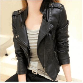 2015春秋季新款pu机车皮衣女士短款韩版修身大码短外套小皮夹克潮