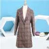 格子中长款女式小西装秋季新品格子大衣 厂家直销欢迎批发订购