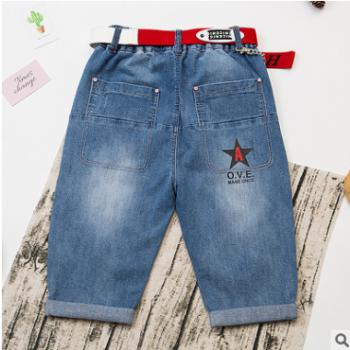 男童童裤夏季裤子中大童牛仔五分裤潮童中裤儿童棉牛仔裤一件代发