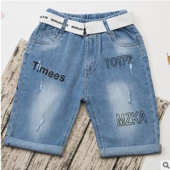 童裤2018年夏季新款百搭儿童牛仔男童五分牛仔中裤潮款裤厂家直销