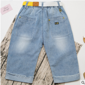 2018夏季新款儿童男童牛仔裤 男童卡通图案中裤 五分裤百搭童装