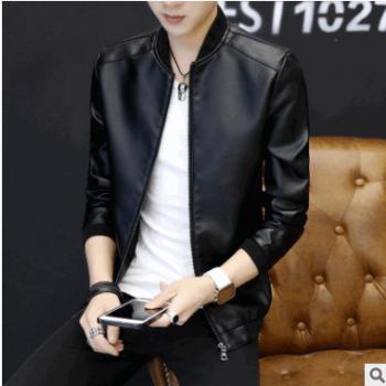 厂家直销批发2018新款男士螺纹口韩版修身棒球皮夹克外套潮流皮衣