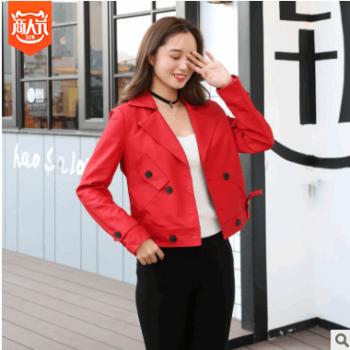 皮衣女短款外套2018新款韩版彩色磨砂水洗皮夹克显瘦机车小皮衣