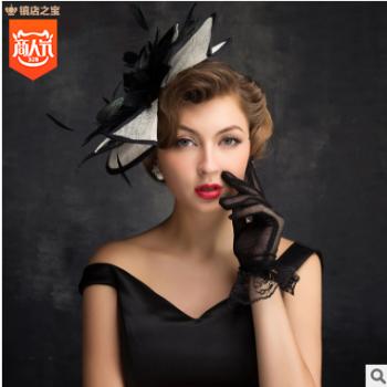 厂家直销新款新娘头饰帽子 批发花朵时尚蕾丝新娘手工网纱头饰