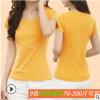 简约夏季短袖T恤女圆V领修身纯棉纯色打底衫休闲半袖bf学生上衣服