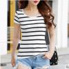 条纹短袖t恤女士2019夏季新款修身纯棉百搭学生半袖韩版厂家批发
