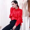 衬衫女长袖雪纺衫2019春装新款韩版宽松大码显瘦荷叶边洋气质上衣