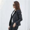 厂家批发春秋新款女短款小皮衣 韩版长袖皮夹克修身显瘦皮衣外套