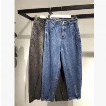 2019新款牛仔裤两色显瘦拉链纽扣百搭线条女 A2HA9130355 -108183