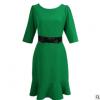2019春季新款绿色收腰荷叶裙 气质通勤女装 女裹身裙 量大从优