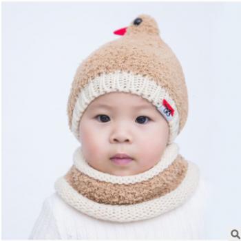 新款小鸟可爱婴儿帽子宝宝毛线帽绒帽两件套带围脖