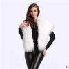 欧美羊毛方巾大披肩 秋冬白色毛领子羊皮毛一体保暖加厚披肩