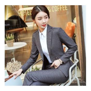 西装修身气质面试长袖职业装 女士韩版时尚工装商务正装白领制服