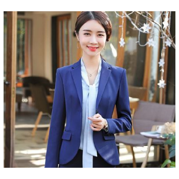 新款长袖一粒扣西装职业套裤 圆角西服气质修身面试装银行工作服