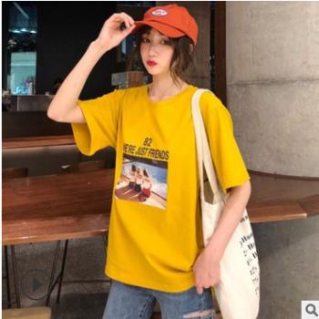 实拍100%纯棉短袖女2019新款宽松学生半袖圆领t恤一件代发