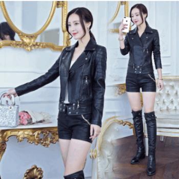 厂家直销欧美2018款皮衣女短款拼色小西装女皮夹克女外套一件代发