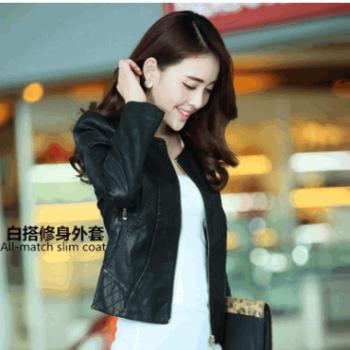 厂家批发2019秋季新款时尚皮衣女外套韩版女装机车皮夹克一件代发