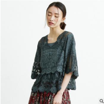 2018春夏新款女装五分袖女式T恤纯棉小背心拼接上衣两件套女批发