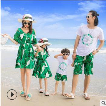亲子装夏装2018新款家庭装短袖沙滩亲子装度假一家四口母女连衣裙