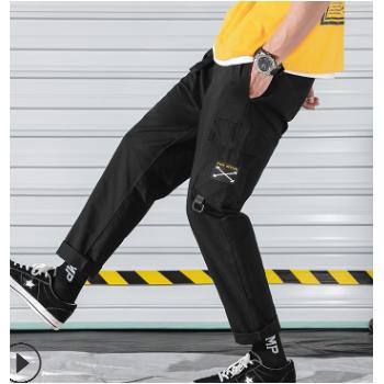 男士多口袋束脚工装裤潮流黑色纯棉百搭九分裤子一件代发贴牌加工