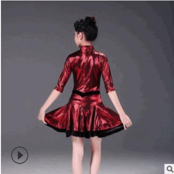 新款春夏秋季女童少儿拉丁舞裙规定服比赛服亮面短袖连衣裙大摆裙