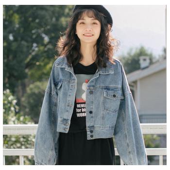 新款2019春季韩版女装学生宽松撞色纽扣短款牛仔外套