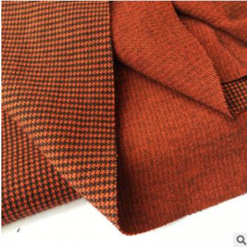 千鸟格 针织时装女装外套裙装面料 格子提花针织布