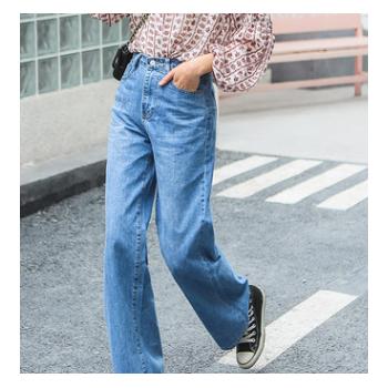 2019春装新款牛仔裤女式阔腿裤高腰大码宽松长裤子bf学生风抖音款