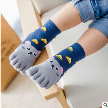 儿童五指袜吸汗卡通全棉男女四季中筒纯棉透气吸汗防臭袜子批发