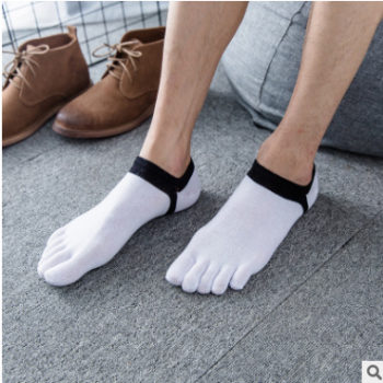 五指袜男士春夏季纯棉中等商务全棉纯色运动低帮半隐形透气脚趾袜