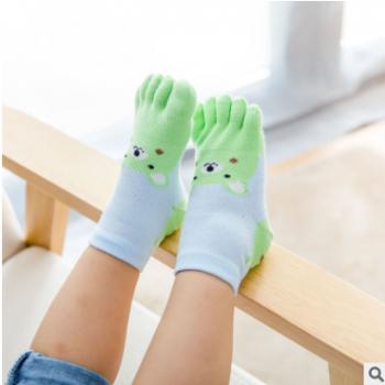超可爱9-12岁男女儿童五指袜夏季薄款网眼全棉短筒运动吸汗脚趾袜